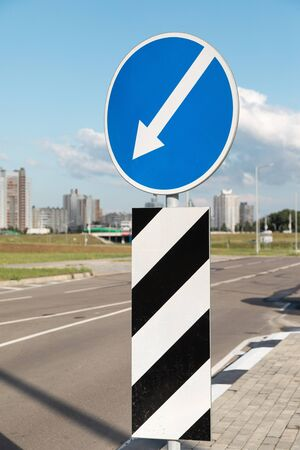 Roadsign Bypass on left in city. Photo with depth of field Stok Fotoğraf