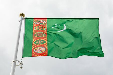 Flag of Turkmenistan waving in the wind