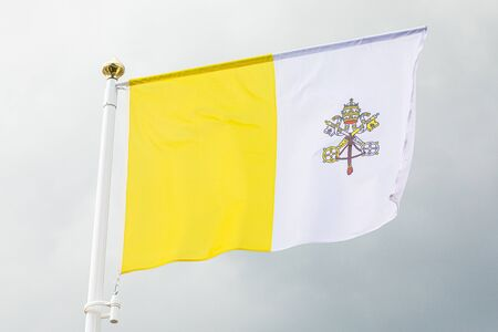 flag of Vaticano waving in the wind Stok Fotoğraf