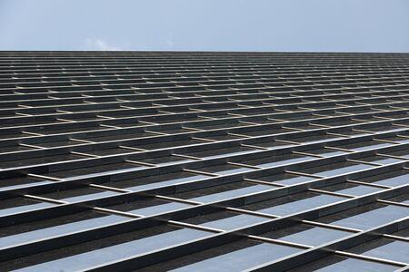 Angular shot of glass building wall tiles
