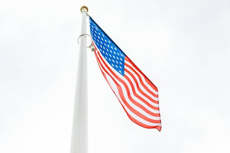 flag of the United States in the sky