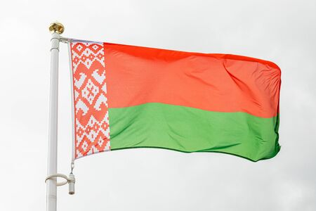 flag of the Republic of Belarus waving in the wind.