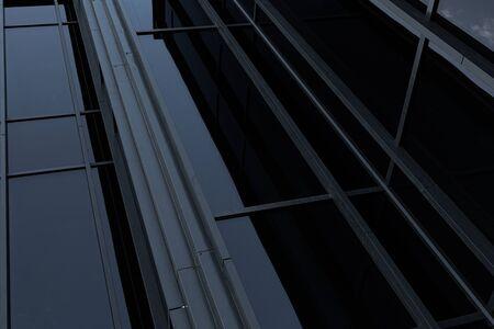 Angular closeup of black mirror highrise wall Stok Fotoğraf