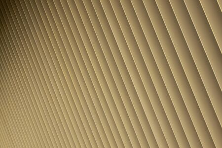 Diagonal view of beige or golden 3d stripes. Louvre shutters like pattern