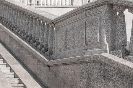 Close-up of classic granite tile staircase with balustrade Stock fotó