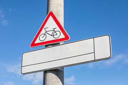 Roadsign Warning bikeway with white empty tablet