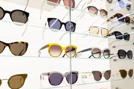 Cat eye, classic lense sunglasses, square shape sunglasses, aviator, angle view at white background.