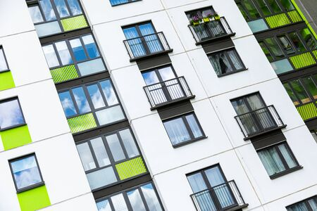 Close-up of bright block of flats in dormitory district in Minsk 版權商用圖片