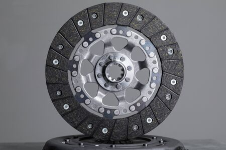 Brake rotor on gray background, new level of quality to high performance brake components.