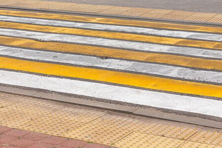 Colourful crosswalk in city centre or downtown, diagonal view