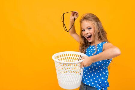 Girl throw away her glasses Stok Fotoğraf