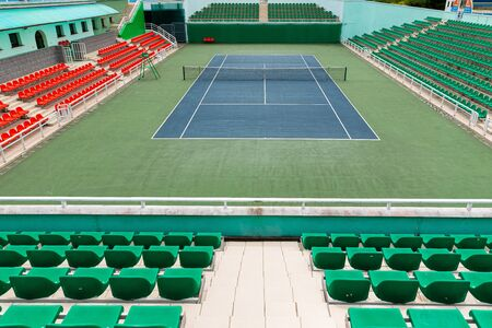 Front view of empty tennis court before competition start