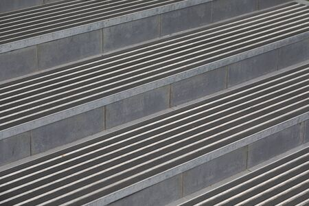 Close-up of steps with stair nosing and rubber crumb covering