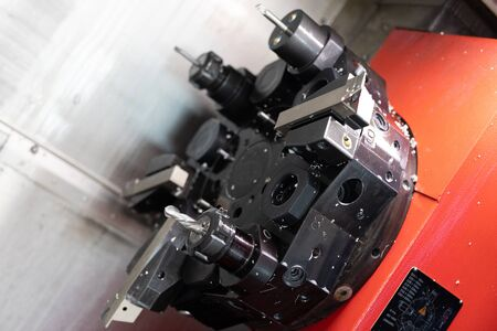 close up portrait of the machine in processing of metal product