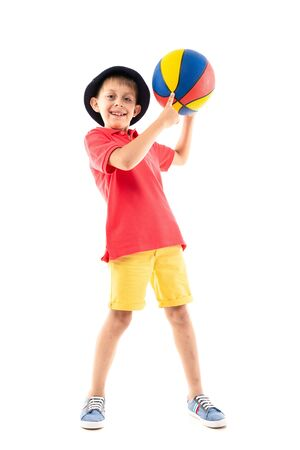 Caucasian teenager boy play basketball, picture isolated on white background. Banco de Imagens - 133679343