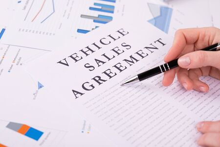 vehicle sales agreement concept Stockfoto