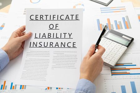 certificat of liability insurance concept