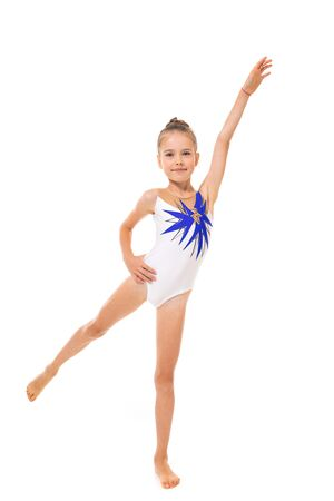 Beautiful girl gymnast in tights do some exercises and have big success isolated on white background