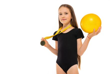 Beautiful girl gymnast in tights do some exercises and have big success isolated on white background Stock Photo