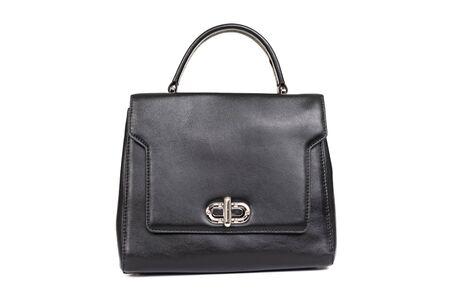 women black leather bag isolated on white background. Imagens