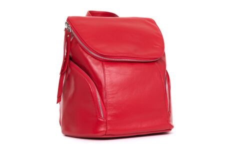 red female backpack on a white background.