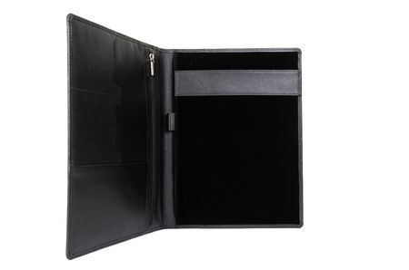 open black leather portfolio for documents.