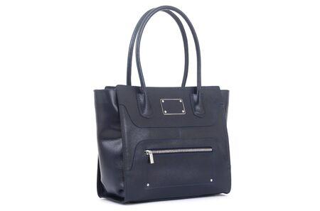 women black leather bag isolated on white background.