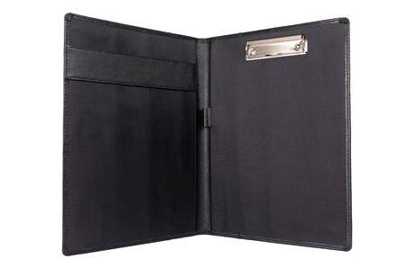black folder for documents on a white background. Zdjęcie Seryjne
