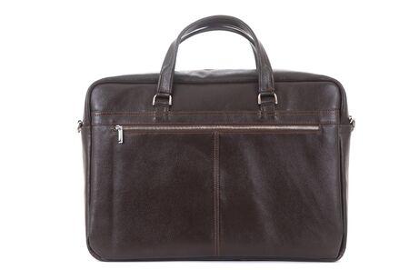 man s expensive elegant briefcase on a white background. Zdjęcie Seryjne