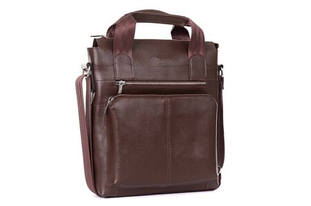 male leather expensive briefcase on a white background.