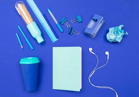 minimalist office supplies for an office employee for a desktop screensaver.