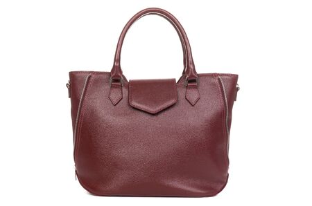 model of elegant leather women bag in red on a white background.