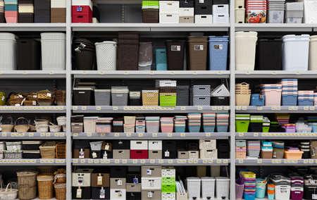 MINSK, BELARUS - April 01, 2020: large assortment of storage baskets in the store. Foto de archivo
