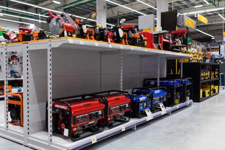 MINSK, BELARUS - April 01, 2020: various hardware store with a large selection of welding machines. Foto de archivo