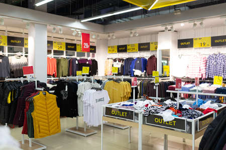 discounted clothing store with a large assortment. Banco de Imagens