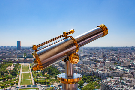 voyeur: Brass Telescope atop the Eiffel Tower in Paris France