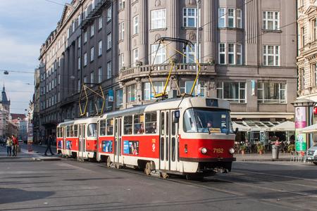 streetcar: Classic Streetcar in Prague City Street