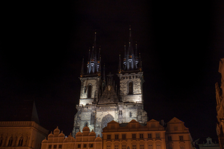town square: Church of Our Lady before Tn in Old Town Square in Prague