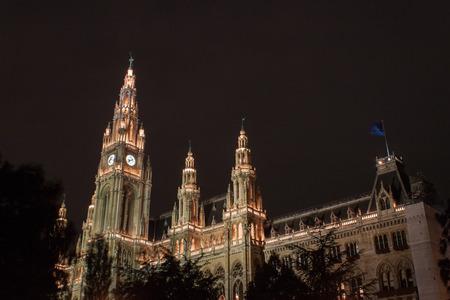rathaus: Viennas Rathaus  City Hall By Night
