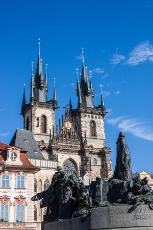 town square: Church of Our Lady before Tyn and Jan Hus Memorial in Old Town Square in Prague