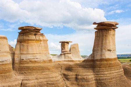 hoodoos: Hoodoos, limestone rock formations in the badlands of Alberta