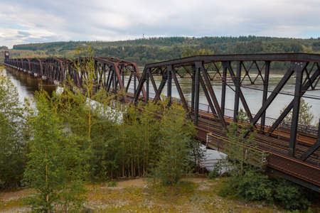 fraser river: A multi span railway bridge over the Fraser River in British Columbia