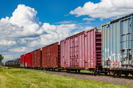 A colorful line of battered railway boxcars under a bold summer sky