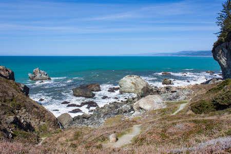 pounding: Surf pounding the rocks near Trinidad, California Stock Photo