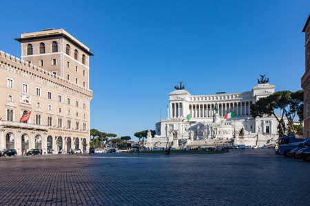 View of the Altare della Patria and the Piazza Venezia in Rome