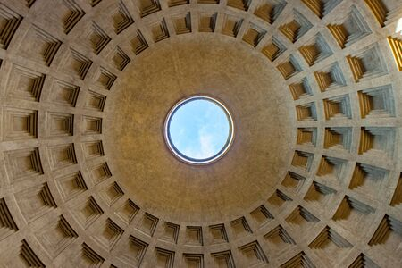 Interior view of roof of Pantheon in Rome