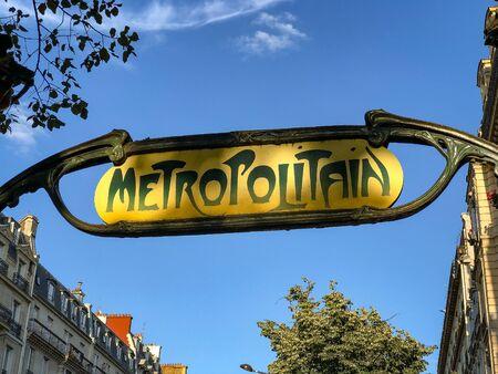 Metroplitain Metro Sign in Paris