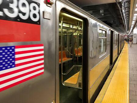 New York Subway Train Arriving at Station