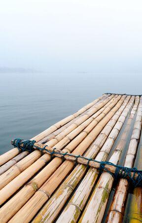 The bamboo rafe on the lake,Kanchanaburi Thailand photo