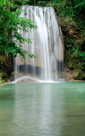 The waterfall in  Erawan national park,Kanchanaburi Thailand photo